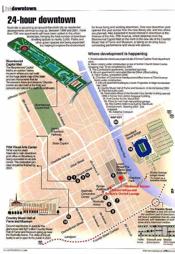 Downtown Nashville Attractions – Nashville Tourist Map